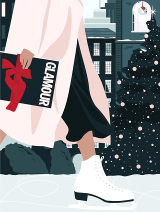 Woman ice skating, delivering a Glamour magazine as a Christmas present. (Glamour Magazine collaboration).jpg