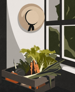 Autumn chores - a crate filled with freshly harvested vegetables in a gardening shed..jpg