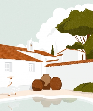 Man walking around a typical Spanish house on a summer day.  Illustration inspired by a Francois Halard photograph, Vogue, June 2005..jpg