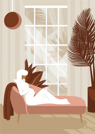 Pregnant woman relaxing on a couch. Cover created for a pregnancy journal dedicated to first-time moms..png