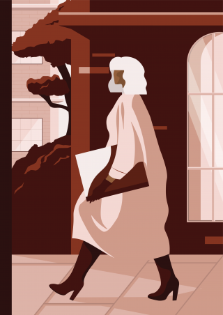 Fashionable woman walking on city streets. (Workbook cover).png