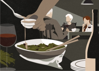 The Michaels. Man cooking while three dinner party guests talk in the background.  (The New Yorker editorial collaboration)