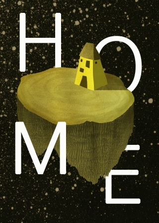 A piece of land with a house on it floating through space.jpg