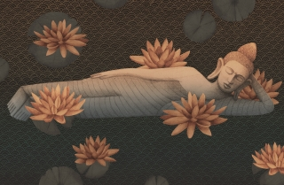 sleeping buddha with lotus flowers in dark river