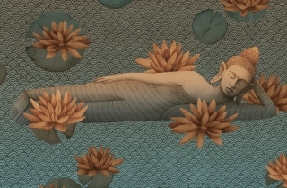 sleeping buddha with lotus flowers in blue river