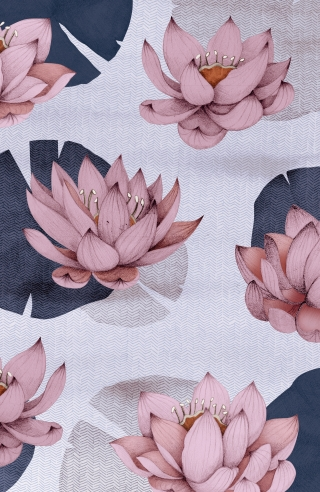 pink lotus flowers in blue river vertical
