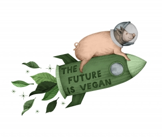 pig flying on the 'the future is vegan' green rocket