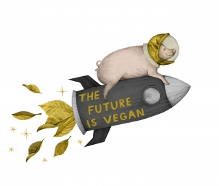 pig flying on the 'the future is vegan' golden rocket