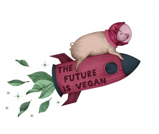 pig flying on the 'the future is vegan' pink rocket