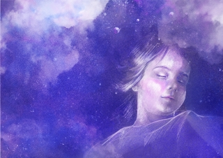 A sleeping girl on the background of the starry night sky.