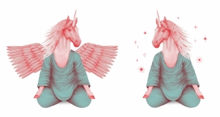 pink pegasus and unicorn meditating together