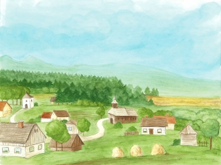 Dedinka, akvarel, kresba, A3, 2018