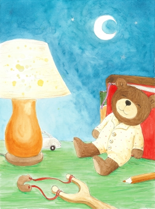 Good night, watercolour book illustration, teddy bear, moon, children room