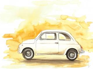 Fiat, akvarel, kresba, A3, 2019