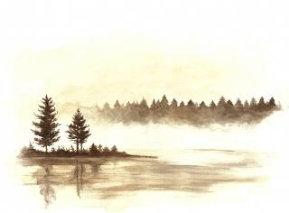 Krajina s jazerom, akvarel, 30x40cm, 2019