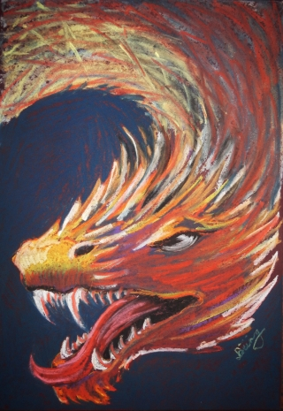 Dragon in soft pastel on Canvas.jpg