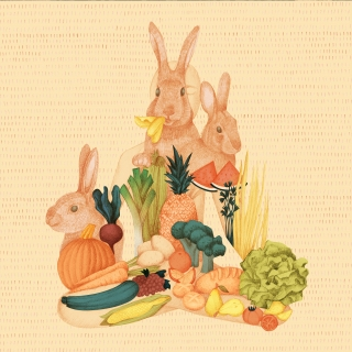 a person doing yoga with bunnies, vegetables and fruit
