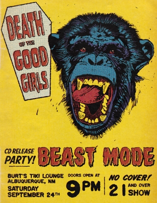 Punk rock concert poster with coffin logo and blue screaming chimpanzee character in vintage comic book colors