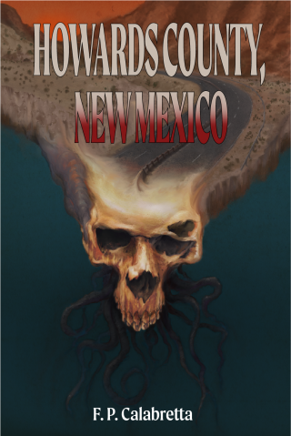 Lovecraft inspired skull monster with tentacles becoming Route 66 at sunset painted horror book cover