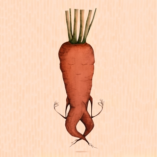 very zen carrot doing yoga