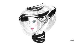 Woman with Erdem Hat. Fashion Illustration.jpg