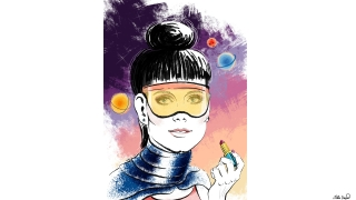French actress Catherine Deneuve in Future with lipstick and sunglasses on a space background. Beauty Illustration and Portrait.jpg