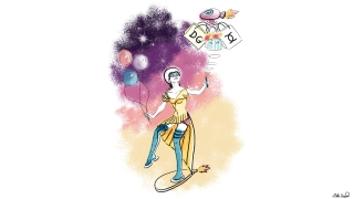 Audrey Hepburn in Future on a flying skateboard with a remote control for a drone carrying shopping bags. Future fashion illustration