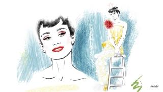 Audrey Hepburn in dress of Givenchy Spring 2019 collection. Fashion Illustration. Portrait.jpg
