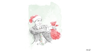 James Bond Santa with a red bag of gifts and Christmas candy instead of a gun. Portrait.jpg