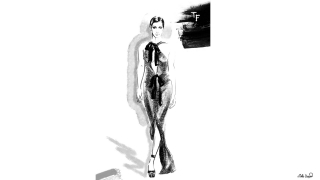 Bella Hadid in dress by Tom Ford AW2020 collection. Fashion Illustration.jpg