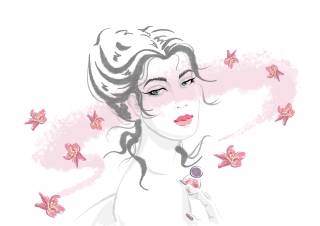 Woman with Perfume. Beauty Illustration