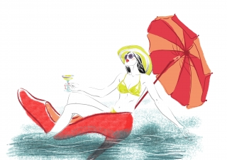 Summertime. The woman is enjoying herself. She uses a huge red Louboutin shoe as a boat, floats down the river under an umbrella and drinks a cocktail