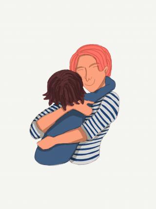 Mom and child hugging, hug
