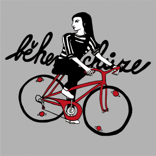 Girl in stripped T-shirt on a red bike.png