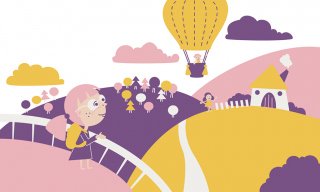Little girl looking on the hot air balloon in the lanscape.png