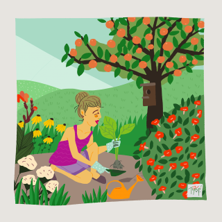 Woman transplanting a flower in a garden full of flowers.png