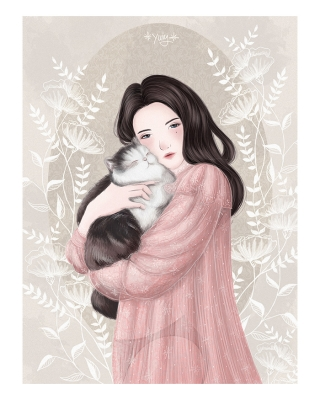 she and her cat-border