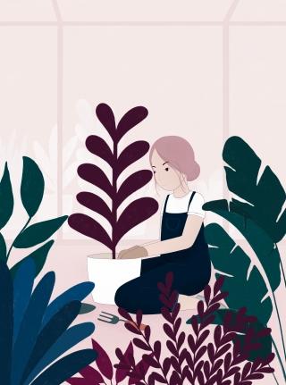 Girl gardening in greenhouse