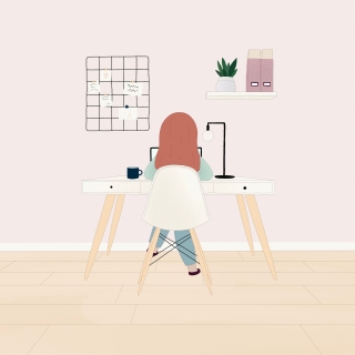 Girl working from home