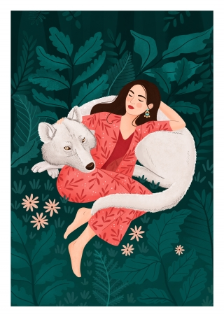 Girl sleeping with a white wolf in forest