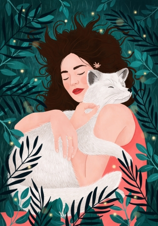 Girl hugging a fox in dreamy forest