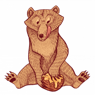 Bear tasting honey