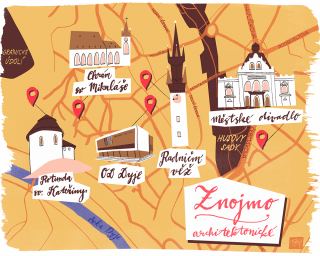 Znojmo city map in inky style and full of colors and architecture with hand lettering.png