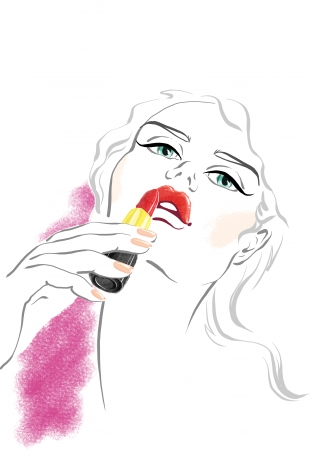 A girl with red lipstick in her hand makes a make-up of her lips. Beauty Illustration.