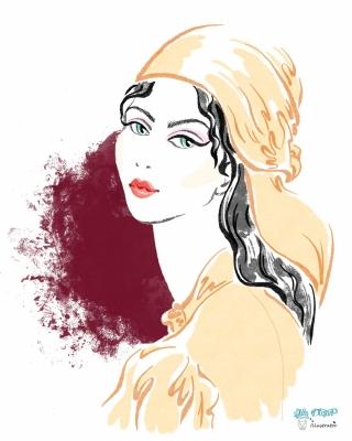 Orange Dress and Headscarf by Sara Battaglia Spring 21 RTW collection. Fashion Illustration.