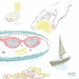 Red Sunglasses by Carolina Herrera Resort Spring 2021 Collection. Fashion Illustration for Magazine.