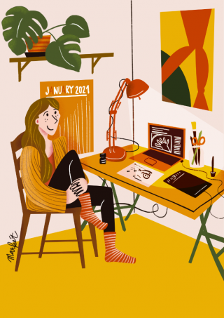 A girl sitting on her chair at the table full of crafty supplies with laptop, tablet and lamp under her monstera...png