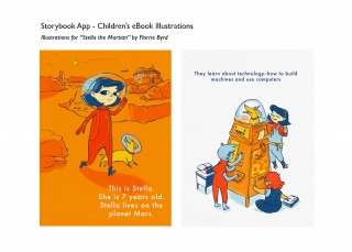 Stella the Martian: Children's book illustration examples for Storybook app