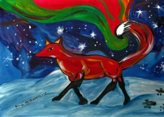 Fox who creates northern lights. Inspired by Finnish folklore stories I heard growing up.
