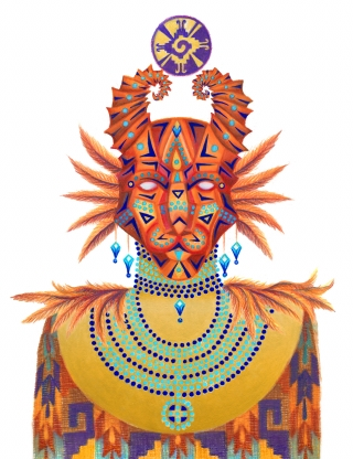 mexican god goddess deity in costume mask jewelry symbol feathers plate gold animal nature guardian